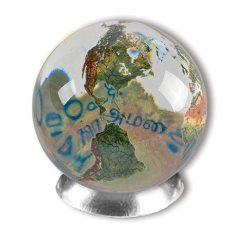 "1"" Clear Crystal Orbacle - Peace in 20 Languages"