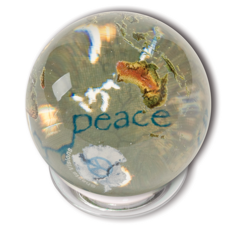 "1.4"" Clear Crystal Earth Orbacle - Peace in 37 Languages Inside On Spinning Glass Stand"