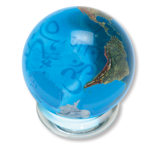 "1.4"" Aqua Crystal Earth Orbacle - Peace in 37 Languages Inside On Spinning Glass Stand"