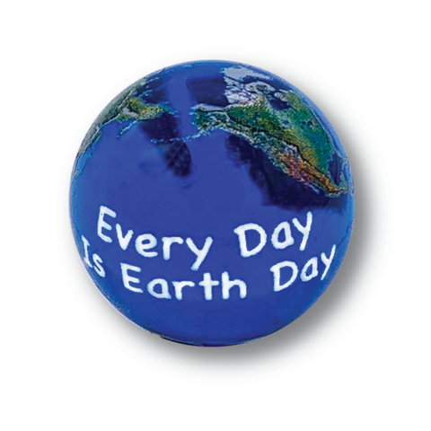 "1"" Natural Earth Day Marble, 3 In A Pouch"