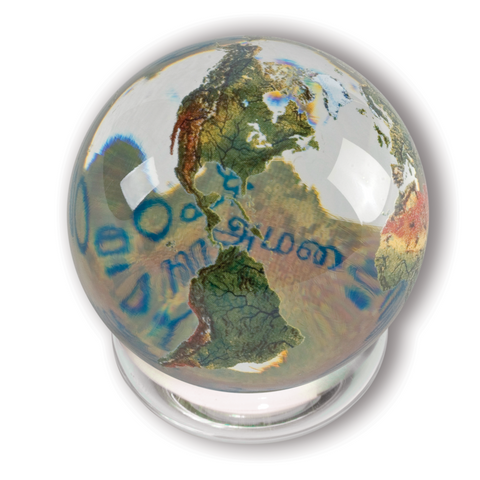 "2"" Peace Orbacle - Clear Crystal Globe, Peace in 37 Languages Inside"