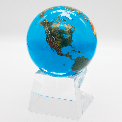 "3"" Aqua Crystal Natural Earth Globe - On Spinning Tapered Glass Base"