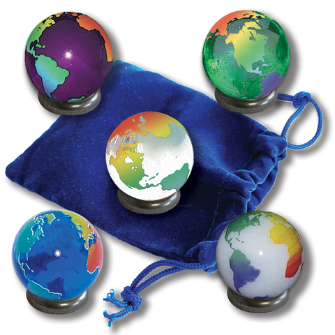 "1"" Rainbow Continents  Earth Marble Set of 5"
