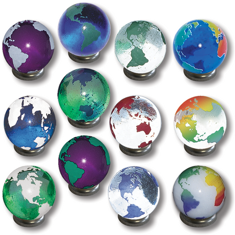 "1"" Rainbow Earth Marbles - Set Of 12"