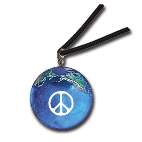 "1/2"" Peace Sign On A Natural Earth Necklace - Black Wax Cord"