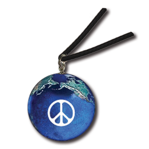 "1"" Peace Sign On A Natural Earth Necklace - Waxed Cotton Cord"