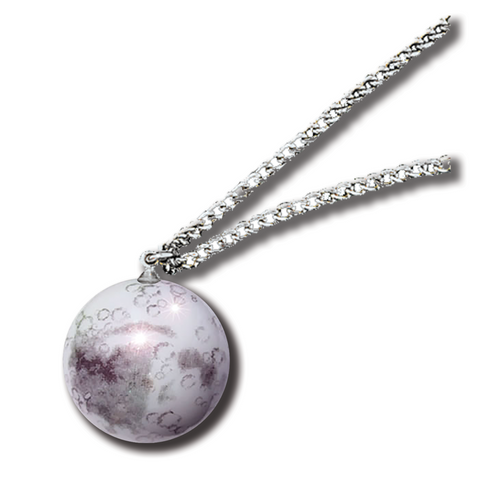 "1"" Moon Necklace - Steel Chain"