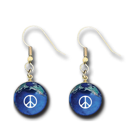 "1/2"" Peace Sign Natural Earth Earrings"