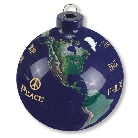 "2.5"" Golden Peace Earth Ornament - Peace in 12 Languages"