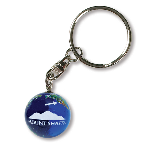 "1"" Natural Earth Keychain With Mount Shasta"