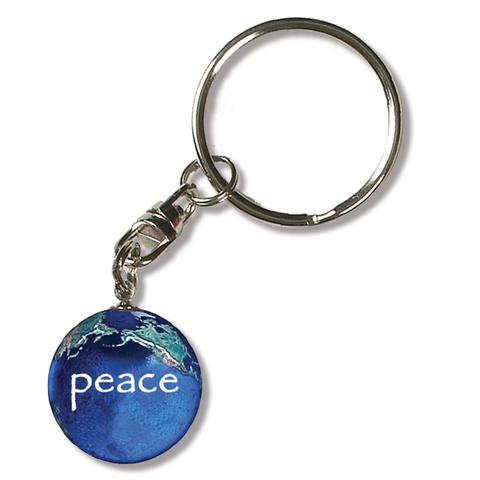 "1"" Peace On A Natural Earth Keychain"