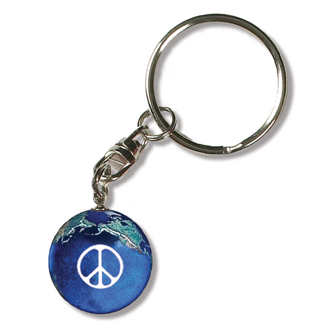 "1"" Peace Sign Natural Earth Keychain"