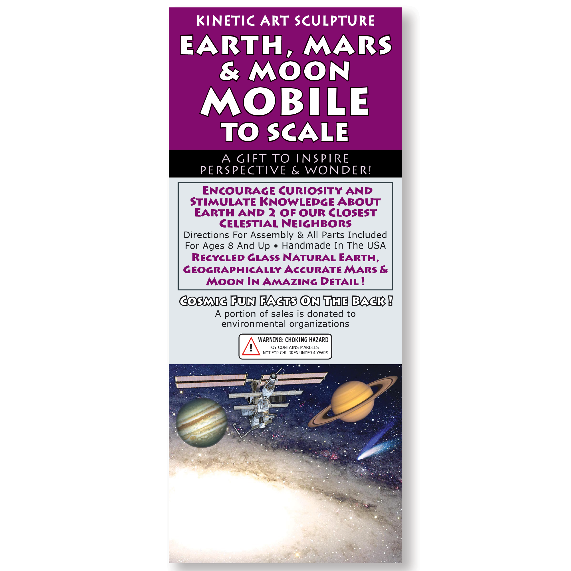 Earth Mars & Moon To Scale Mobile