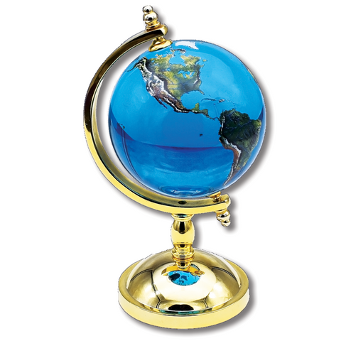 "4"" Spinning Tabletop Globe with Gold Plated Stand"