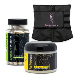 belly fat burning cream + waist trainer + detox supplements