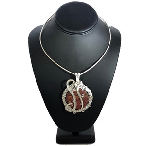 Red Jasper Wire Wrapped Sterling Silver Necklace | Grace Andersen Designs