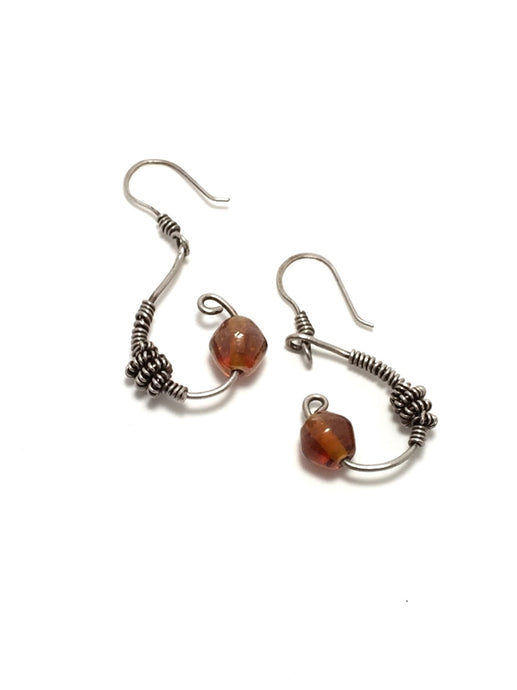 Amber sterling silver earrings, brown colored bead components, earrings in shape of opened teardrop, handcrafted artisan jewelry, Grace Andersen Designs