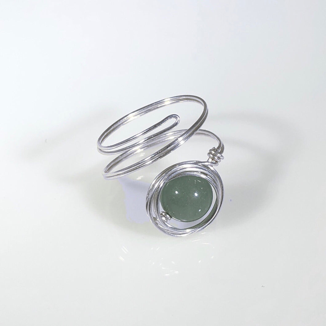 Sterling Silver Green Aventurine Spiral Ring | Grace Andersen Designs