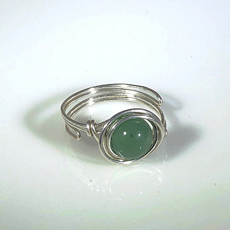 Sterling Silver Solitaire Green Aventurine Ring | Grace Andersen Designs