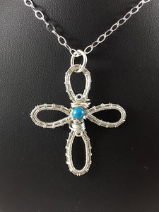 Blue agate wire wrapped sterling silver cross necklace, a loopy wire wrapped cross with a blue stone in center, handcrafted artisan jewelry, Grace Andersen Designs