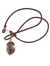 Load image into Gallery viewer, Brown agate wire wrapped necklace, copper wire wrapped design on front of stone, leather cording, oval shape brown stone, Grace Andersen Designs
