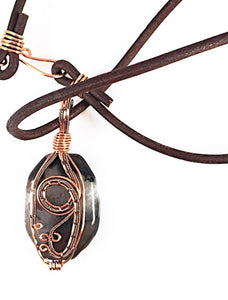 Brown agate wire wrapped necklace, copper wire wrapped design on front of stone, leather cording, oval shape brown stone, Grace Andersen Designs