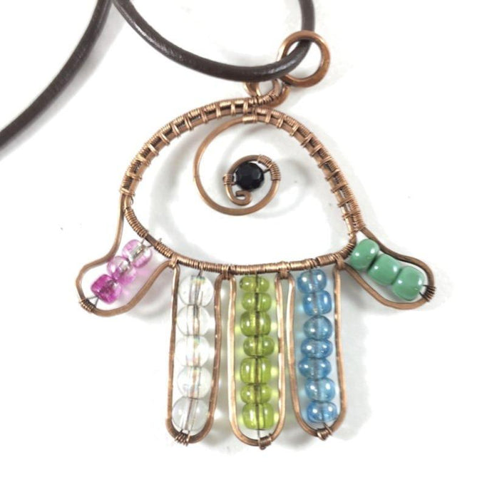 Hamsa wire wrapped copper necklace, colorful bead components, shape of hand, leather cording, handmade artisan jewelry, metaphysical, Grace Andersen Designs