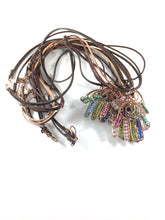 Load image into Gallery viewer, Hamsa wire wrapped copper necklace, colorful bead components, shape of hand, leather cording, handmade artisan jewelry, metaphysical, Grace Andersen Designs