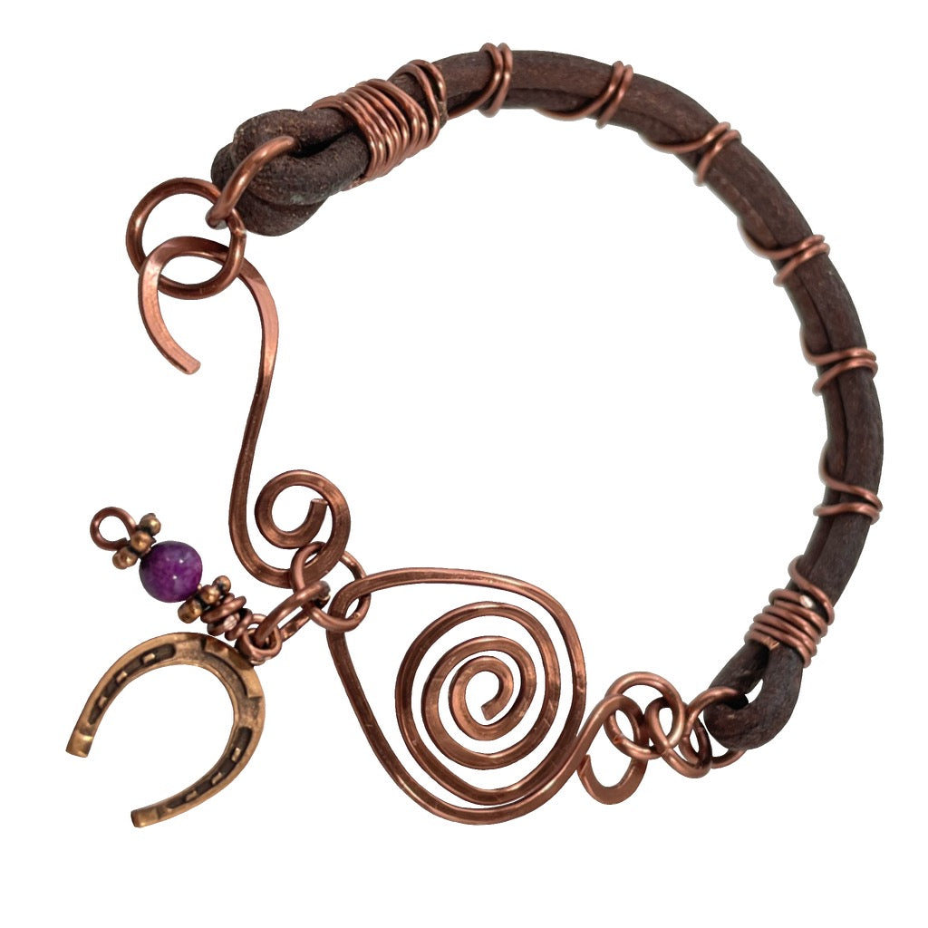 Leather Purple Horseshoe Copper Bracelet | Grace Andersen Designs