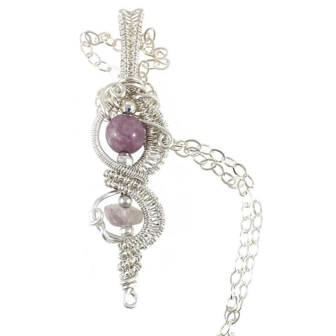Lepidolite wire wrapped sterling silver necklace, sterling silver chain, round light purple stone is centerpiece, small irregular rainbow translucent stone towards bottom. Both stones are wire wrapped and embellished with sterling silver beads, handcrafted artisan jewelry, Grace Andersen Designs