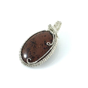Mahogany obsidian sterling silver pendant, dark brick color, oval shape, handcrafted artisan jewelry, Grace Andersen Designs