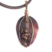 Load image into Gallery viewer, Mookaite wire wrapped copper necklace, maroon irregular oval shape, wire wrapping is on front of stone, leather cording, handcrafted artisan jewelry, Grace Andersen Designs