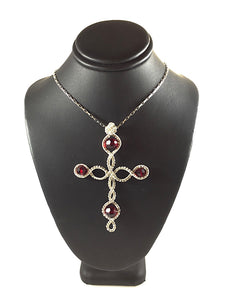 Red Swarovski wire wrapped sterling silver cross necklace, red Swarovski crystals on each point of the cross with a fancy wire wrapping in center, handcrafted artisan jewelry, Grace Andersen Designs