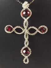 Load image into Gallery viewer, Red Swarovski wire wrapped sterling silver cross necklace, red Swarovski crystals on each point of the cross with a fancy wire wrapping in center, handcrafted artisan jewelry, Grace Andersen Designs
