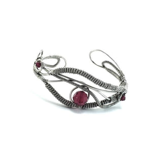 Siam Red Swarovski Wire Wrapped Sterling Silver Cuff | Grace Andersen Designs