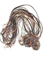 Load image into Gallery viewer, Third eye wire wrapped copper necklace, colorful bead components, leather cording, handmade artisan jewelry, metaphysical, Grace Andersen Designs