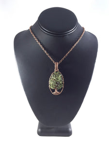 Tree of life peridot copper necklace, wire wrapped tree with peridot chips as leaves, three dimensional, copper chain, handcrafted artisan jewelry, Grace Andersen Designs