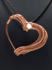 Pearl Wire Wrapped Copper Heart Necklace | Grace Andersen Designs