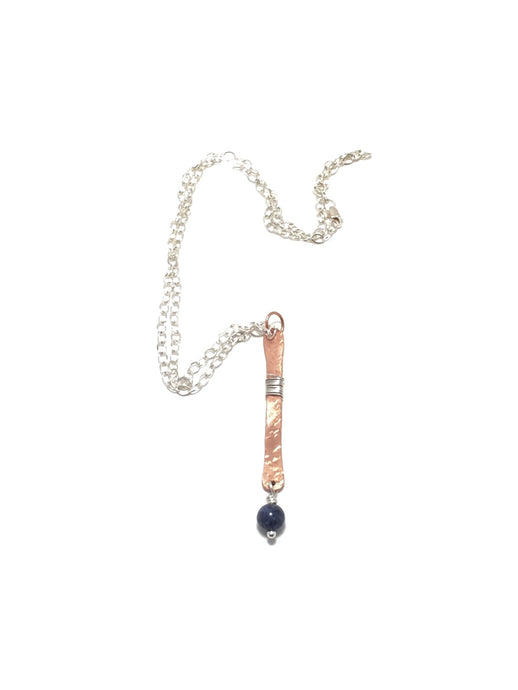 Sodalite Vertical Copper Sterling Silver Necklace | Grace Andersen Designs