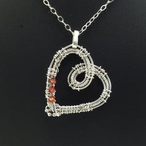 Hearts of fire orange swarovski wire wrapped heart necklace