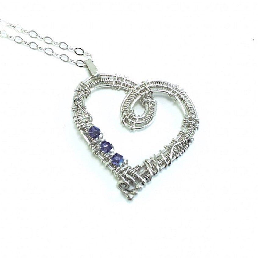 Purple Orange Swarovski Sterling Silver Heart Necklace | Grace Andersen Designs