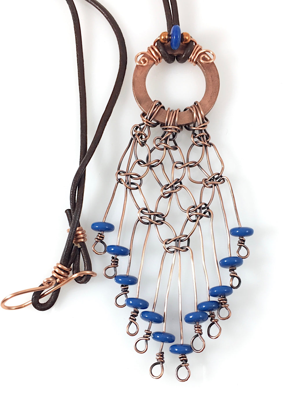 Boho Blue Wire Wrapped Copper Necklace | Grace Andersen Designs