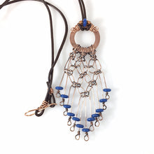 Load image into Gallery viewer, Boho Blue Wire Wrapped Copper Necklace | Grace Andersen Designs