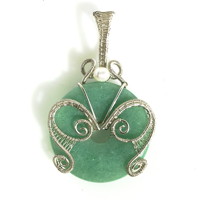 Green Aventurine Donut Wire Wrapped Sterling Silver Pendant | Grace Andersen