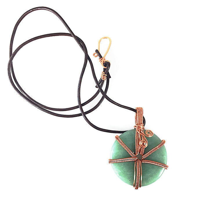 Green Aventurine Donut Wire Wrapped Copper Necklace | Grace Andersen Designs