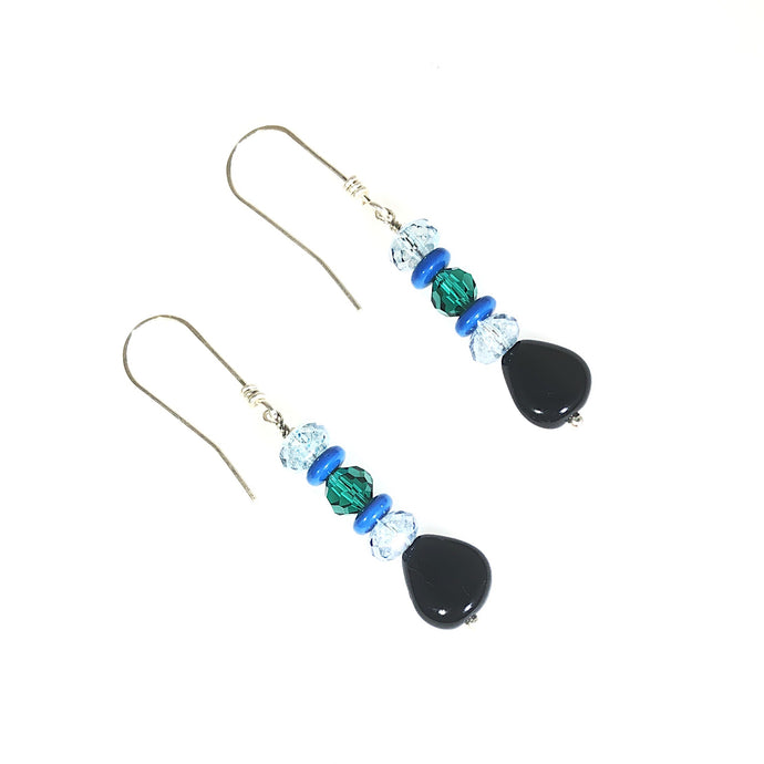 Blue Green Black Sterling Silver Earrings | Grace Andersen Designs