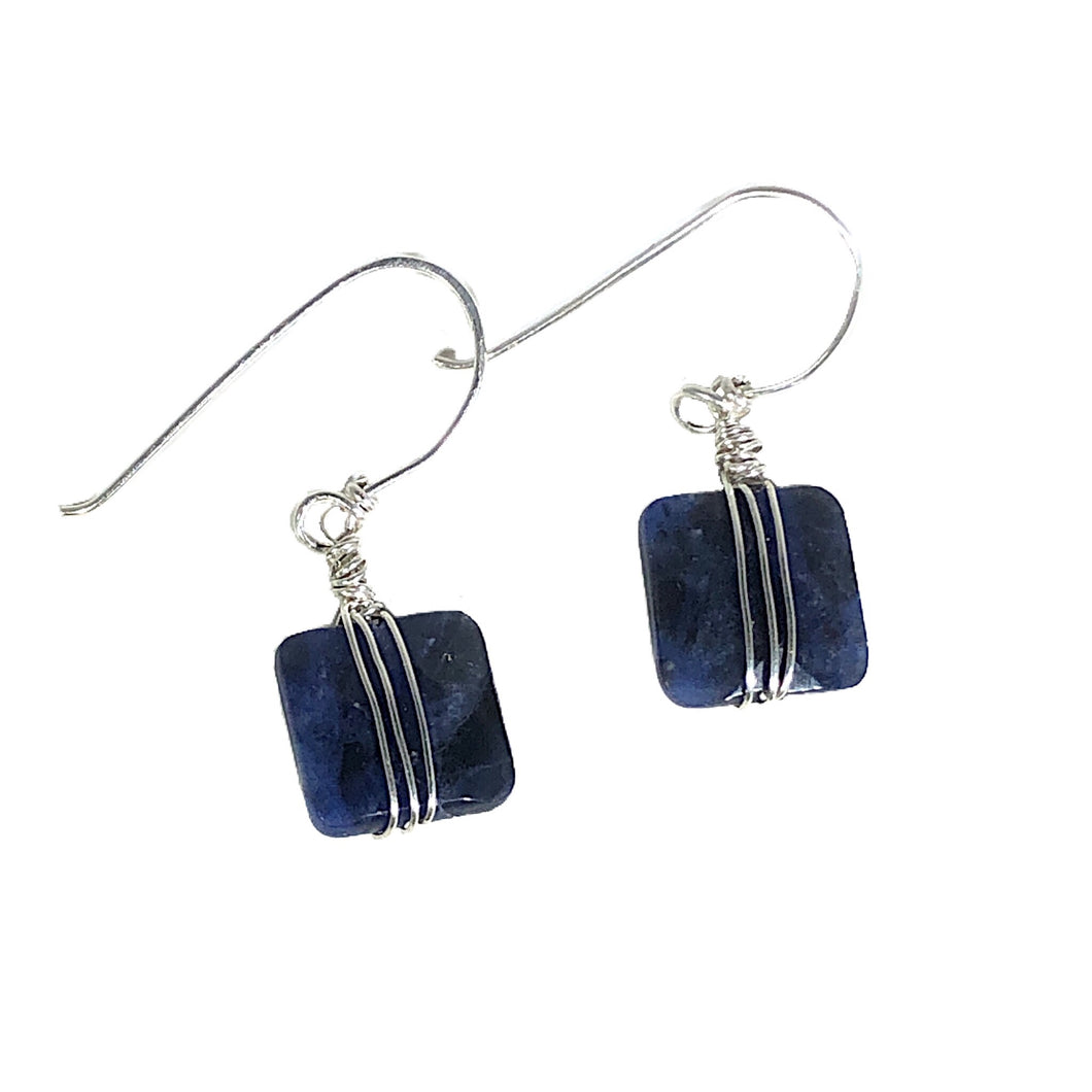 Sodalite Wire Wrapped Sterling Silver Earrings