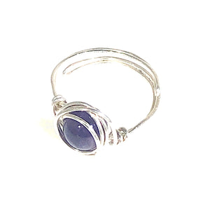Sterling Silver Solitaire Amethyst Adjustable Ring | Grace Andersen Designs