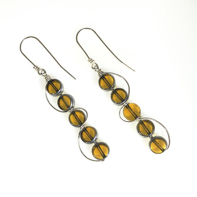 Amber Sterling Silver Long Earrings | Grace Andersen Designs