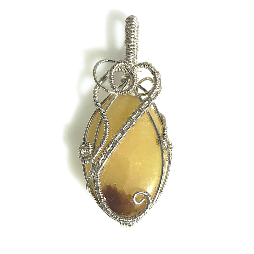 Yellow Septarian Wire Wrapped Sterling Silver Pendant | Grace Andersen Designs